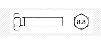 Болт класс прочности 8.8  с основным шагом резьбы  (DIN 931; 933)