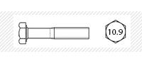 Болт класс прочности 10.9 с мелким шагом резьбы  (DIN 960; 961)